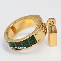 Rare Hermes Kelly Padlock Motif Gold Plated & Crocodile Leather Scarf Ring Photo