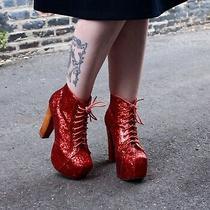 Rare Htf Jeffrey Campbell Red Glitter Lita Boots Sz 9 Photo
