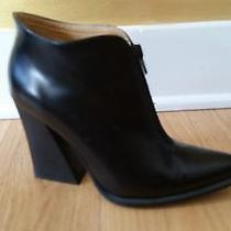 Rare Jeffrey Campbell Black Leather Zip Ankle Boots Size 7 Photo