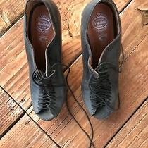 Rare Jeffrey Campbell Booties 7 Black Leather Platform Lace Up Shoes Photo