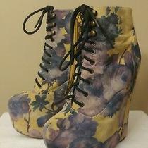 Rare Jeffrey Campbell Damsel Floral Suede Platform Wedge Booties Shoes Sz 7.5 Photo