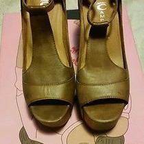 Rare Jeffrey Campbell Foxy Wood Heels Used Sz 7 Brown Style Foxy -Wood Photo