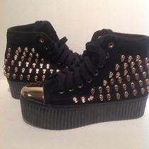 Rare Jeffrey Campbell Hiya Skull Sneakers Black & Gold Size 6 Photo