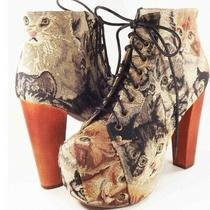 Rare Jeffrey Campbell Kitty Cat Tapestry Lita Booties Size 10 Shoes Photo