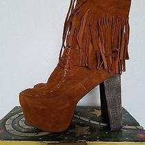 Rare Jeffrey Campbell Lita Fringe Suede Boot Photo