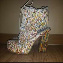 Rare  Jeffrey Campbell Mildred Paint Splatter Lace Up Shoes Heel Booties 6.5 Photo