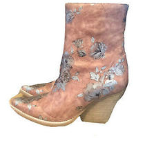 Rare Jeffrey Campbell Pink and Silver Peyton Floral Designer Bootie Size 8.5 Photo
