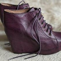 Rare Jeffrey Campbell Tie 99 Plum Purple Leather Vintage Wedge Booties Size 9 Photo