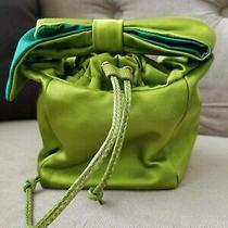 Rare Kate Spade Lime Green Handbag Satin Bucket Clutch Emerald Drawstring Purse Photo