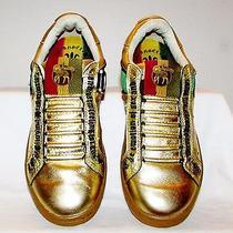Rare l.a.m.b. Sz 7.5 Metallic Gold Leather Sneakers by Gwen Stefani Unique Soles Photo