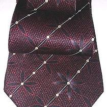 Rare Lanvin Floral 100% Ruby Red Maroon Unique Mens Silk Tie Made in France Euc Photo