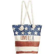 Rare Life Is Good Dockside Tote Bag Xl Beach Bag Usa Flag Red White Blue July 4 Photo