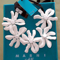 Rare Marni for h&m White Necklace With Large Plastic Flowers New in Box Photo