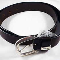 Rare Mens Fossil Bt2191200l Large Brown C Buckle Leather Belt - 28 Retail Photo
