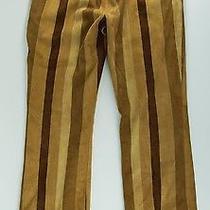 Rare Mint Escada Brown & Tan Striped Suede Boho Leather Pants Eu 50 Us 28x29 Photo