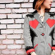 Rare Moschino Cheap and Chic Heart Blazer Check Jacket Jeremy Scott Western 8 Photo