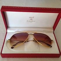 Rare Must Cartier Aviator Sunglasses Gold Plated With Burgundy Lacquer Photo