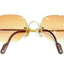 Rare Near Mint Cartier Rimless Gold Plated Sunglasses With Case - No Reserve Photo