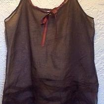 Rare Neesh by Dar for Anthropologie Brown Sheer Layering Top Sz M-L Unique Photo