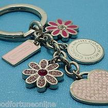Rare New Coach Heart Flower Mix Charm Key Chain Ring Crystals Key Chain Ring Fob Photo