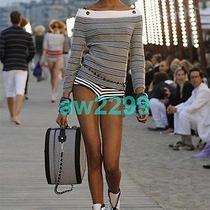Rare New in Box Chanel Black & White Boots Mid Calf Cc Logo 35 New Photo