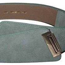 Rare New Nwt Bebe Suede Leather Belt Asymmetric Honeydew Light Green M/l Photo