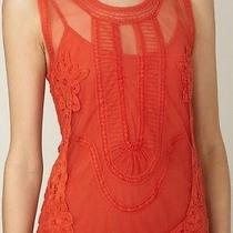 Rare Nwt Candela Free People Elle Mini Dress Red Ivory Tie-Dye Vintage Lace  Photo