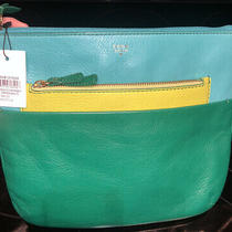 Rare Nwt Leather Fossil Crossbody Green/turquoise/yellow Leather Purse Msrp 188 Photo