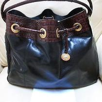 Rare Nwt Pecan Croc & Black  Leather Drawstring Shoulder Handbag Tote Tuscan Photo