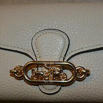 Rare Nwt's Coach Leather Medium Clutch Wallet Chalk  W/ Gold Monagram 88099 Photo