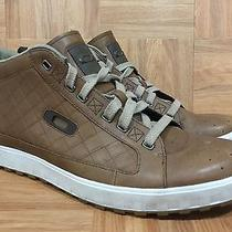 Rare Oakley Brown Leather Quilted Pattern Gum Soles Hi Top Fashion Shoes Sz 11 Photo