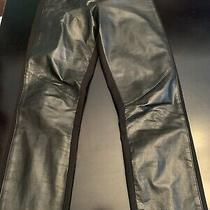 Rare Paige Denim Small Paloma Black Front Real Leather Pants Stretch Plonge M Photo