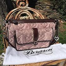 Rare Retired Brighton Fabric Tapestry Bag Blush Pink Chocolate Stitched Hearts Photo