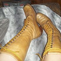Rare Sexy Frye Campus Lug Tall Vintage Lace Up Logger Boots Womans 9 Black Label Photo