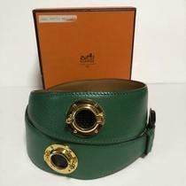 Rare Super Greek Hermes Belt Green Gold Hardware Kawaii no.14768 Photo