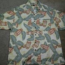 Rare Tommy Bahama Men's Silk Leaf Drums Short Sleeve Button Up Hawaiian Shirt M Photo