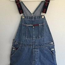 Rare Tommy Hilfiger Women's Logo Strap Usa Grunge Hip Hop Denim Overalls Sz 9 Photo