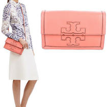 Rare Tory Burch Logo Leather Jessica Clutch Crossbody Bag Coral Excellent Cond Photo
