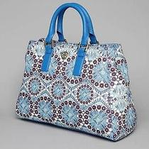 Rare Tory Burch Vintage Printed Triangle Tote Robinson Shoulder Bag Blue Purse Photo