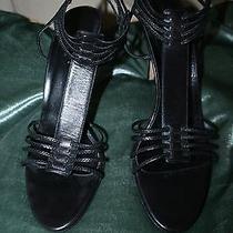 Rare & Unique Gucci Strappy Heels Black Leather Italy 40c Ankle Straps Stretch  Photo