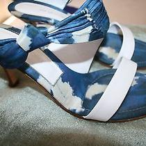 Rare & Unique Sergio Rossi Cloud Print Silk Slides 40 Wooden Heels Leather Nice Photo