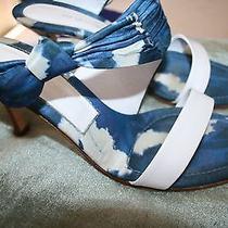 Rare & Unique Sergio Rossi Cloud Print Silk Slides 40 Wooden Heels Leather Nice Photo