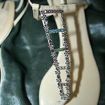 Rare & Unique Sergo Rossi Lace Up Kitten Heels Italy 39 Leather Multi Crystals Photo