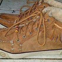 Rare & Unique Ugg Women's Tan Leather Western Ftinge Lace Up Ankle Boots 7.5 Photo