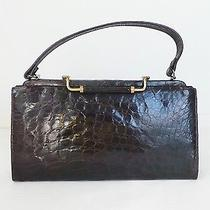 Rare Unique Vintage 40s Brown Alligator Crocodile Leather Avon Bay Purse Handbag Photo