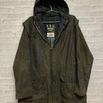 Rare Unlined Vintage Barbour Wax Cotton Green Durham Hooded Jacket 40