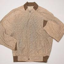 Rare Valentino Italy Made Printed Leather Bomber Jacket Herringbone Cashmere Photo