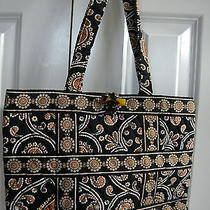 Rare Vera Bradley Toggle Tote in Retired Cafe Latte Pattern (Black/brown) Photo