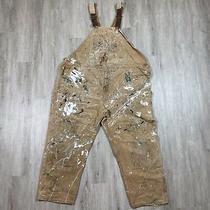 Rare Vintage Carhartt Destroyed Overalls/bibs Paint Splatter Brown Size 58 X 32 Photo