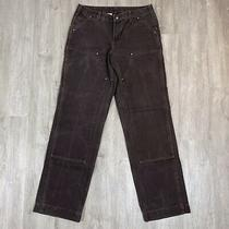 Rare Vintage Carhartt Usa Made Double Knee Dark Brown Work Pants Size 32 X 32 Photo